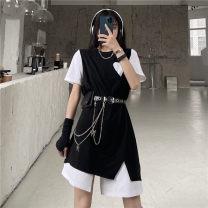 T-shirt Black dress, belt, bag, chain S,M,L Summer 2021 Short sleeve commute modal  31% (inclusive) - 50% (inclusive) 18-24 years old Korean version