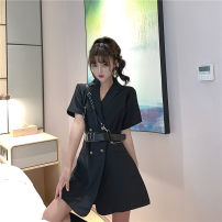 Dress Summer 2021 black S, M Short skirt singleton  Short sleeve commute tailored collar High waist Solid color double-breasted routine 18-24 years old Type A 51% (inclusive) - 70% (inclusive) polyester fiber