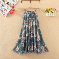 skirt Summer 2021 L,XL longuette Versatile High waist A-line skirt Decor Type A 25-29 years old XXL15 More than 95% Chiffon Ocnltiy polyester fiber Bowknot, lace, resin fixation, stitching, printing 201g / m ^ 2 (including) - 250G / m ^ 2 (including)