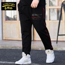 Casual pants Langerhault Youth fashion Black Plush 3XL 4XL 5XL 6XL 7XL thick trousers Other leisure easy High shot KZ045 autumn Large size tide 2019 Straight cylinder Viscose fiber (viscose fiber) 65.6% polyester fiber 30.8% polyurethane elastic fiber (spandex) 3.6% Sports pants No iron treatment