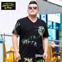 T-shirt Fashion City black routine 2XL 3XL 4XL 5XL 6XL 7XL Langerhault Short sleeve V-neck easy Other leisure summer TX415 Cotton 95% polyurethane elastic fiber (spandex) 5% Large size routine tide Sweat cloth Summer 2021 No iron treatment Pure e-commerce (online only)