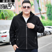 Jacket Langerhault Youth fashion Black blue 3XL 4XL 5XL 6XL 7XL routine easy motion winter J13 Polyester 100% Long sleeves Wear out stand collar Youthful vigor Large size routine Closing sleeve Solid color Fall 2017 Pure e-commerce (online only) polyester fiber