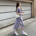Women's large Summer 2021 violet M [within 100 kg recommended], l [100-120 kg recommended], XL [120-140 kg recommended], 2XL [140-160 kg recommended], 3XL [160-180 kg recommended], 4XL [180-200 kg recommended] Dress singleton  commute Straight cylinder thin Conjoined Short sleeve Broken flowers YMS