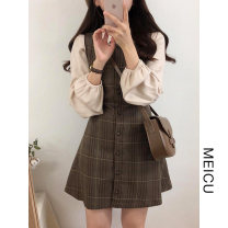 Fashion suit Winter of 2019 S,M,L,XL Plaid vest skirt, apricot shirt 18-25 years old Other / other