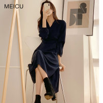 Dress Winter 2020 Navy, Beixing S,M,L Mid length dress singleton  Long sleeves commute V-neck High waist Solid color other other routine 18-24 years old Type A Korean version 2202#