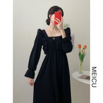 Dress Winter 2020 Apricot, black S,M,L,XL Mid length dress singleton  Long sleeves commute square neck High waist Solid color Socket other pagoda sleeve 18-24 years old Type A Korean version Lotus leaf edge