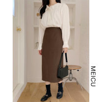 Fashion suit Winter of 2019 S,M,L,XL Beige shirt, coffee skirt 18-25 years old Other / other
