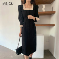 Dress Winter 2020 black S,M,L,XL Mid length dress singleton  Long sleeves commute square neck High waist Solid color Single breasted other routine Others 18-24 years old Type A Korean version Button, button