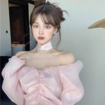 Lace / Chiffon Spring 2021 Pink S, M Long sleeves commute singleton  Self cultivation have cash less than that is registered in the accounts One word collar 18-24 years old Korean version