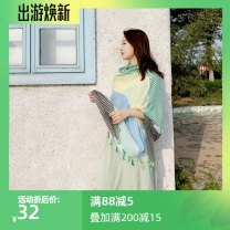 Scarf / silk scarf / Shawl other Vibrant orange stripe, fresh green stripe Spring and autumn, summer, winter female Scarves / scarves multi-function Korean version rectangle Students, youth, middle age stripe printing 88cm 190cm More than 96% Make a fuss