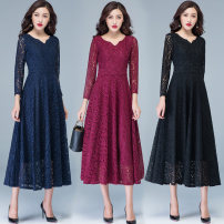 Dress Autumn of 2019 Black lace big flower rose red lace big flower dark green lace big flower Navy Blue Lace big flower ash lace big flower Custom size S M XL XXL 3XL longuette singleton  Long sleeves commute V-neck High waist Solid color Socket A-line skirt routine Others 35-39 years old Type A