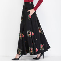 skirt Autumn of 2019 S M L XL XXL custom size longuette Retro High waist A-line skirt Decor Type A 40-49 years old 51% (inclusive) - 70% (inclusive) brocade Feiqier polyester fiber Embroidered pocket Polyester 70% Cotton 30% Pure e-commerce (online only)