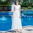 Dress Summer 2020 White Embroidered feather S M L XL XXL 3XL longuette singleton  Sleeveless commute V-neck High waist Solid color zipper A-line skirt other Others 35-39 years old Type A Feiqier literature Mesh zipper 90-89 More than 95% Chiffon other New polyester fiber 100%