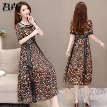 Dress Summer of 2019 Red, yellow, blue and green flowers M L XL 2XL 3XL 4XL longuette singleton  Short sleeve commute Crew neck middle-waisted Decor Socket Big swing routine 35-39 years old My flowers Korean version ZQFSZ39# More than 95% polyester fiber Other polyester 95% 5%