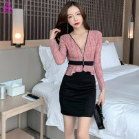 Dress Autumn 2020 Pink yellow S M L XL XXL Short skirt singleton  Long sleeves commute V-neck High waist Solid color Socket One pace skirt routine 25-29 years old Type H Xue Shili Splicing t1361 More than 95% brocade polyester fiber Polyester fiber 95.6% polyurethane elastic fiber (spandex) 4.4%