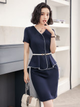 Dress Summer of 2019 Navy Dress Black Dress S M L XL XXL Middle-skirt singleton  Short sleeve commute V-neck middle-waisted Solid color Socket Ruffle Skirt routine Others 30-34 years old Type X Jin Yan Korean version L8003/ 71% (inclusive) - 80% (inclusive) polyester fiber