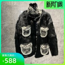 leather and fur Winter 2020 +aimlesample Black, white S,L,M routine Long sleeves commute stand collar rabbit 's hair 25-29 years old Splicing