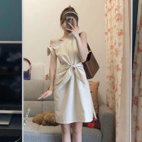 Dress Summer 2021 Cream apricot S [quality version], m [quality version], l [quality version], XL [quality version] Short skirt singleton  Sleeveless commute Crew neck low-waisted Solid color Socket A-line skirt routine 18-24 years old Type A Korean version 31% (inclusive) - 50% (inclusive) other