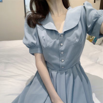 Dress Summer 2021 Haze blue S [quality version], m [quality version], l [quality version], XL [quality version] Short skirt singleton  Short sleeve commute Polo collar High waist Solid color Single breasted A-line skirt puff sleeve Others 18-24 years old Type A Korean version Button other