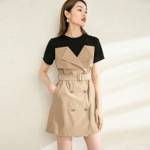 Dress Summer 2021 Khaki spell black S M L longuette singleton  Short sleeve commute Crew neck High waist Solid color double-breasted A-line skirt routine 25-29 years old Type A SDUOMI / Still more rice Stitching buttons S21Q032110 More than 95% polyester fiber Polyester 100%