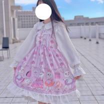 Dress Spring 2021 Bunny jam jsk, bunny jam jsk + veil M, L longuette singleton  Sleeveless Sweet One word collar A-line skirt Others Ruffles, lace, prints 30% and below Lace other Lolita