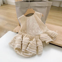 suit Other / other Off white 70, 80cm, 90cm, 100cm, 110cm, 70-110 size / 1 hand, 5 pieces, small size, please order according to the size chart female summer Europe and America Sleeveless + pants 2 pieces Thin money No model Socket nothing Solid color cotton children Expression of love other