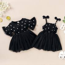 Parent child fashion Black, black gold other female Other / other 80cm,90cm,100cm,110cm,120cm P9788 summer Europe and America Thin money Dot 18 months, 2 years, 3 years, 4 years, 6 months, 9 months