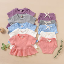 suit Other / other Fuchsia, gray, white, sky blue, pink 70, 80cm, 90cm, 100cm, size 70-100 / 1 hand, 4 pieces, small version, please order according to the size chart female summer Europe and America Short sleeve + pants 2 pieces Thin money No model Socket nothing Solid color cotton children other