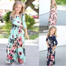Dress female Other / other Cotton 90% other 10% spring and autumn Europe and America Long sleeves Broken flowers cotton 12 months, 2 years old, 3 years old, 4 years old, 5 years old, 6 years old
