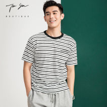 T-shirt Fashion City Black grey routine M L XL XXL Juesion / jueshen Short sleeve Crew neck easy Other leisure summer GZL2118 Cotton 100% youth routine tide Slub yarn Summer 2021 stripe jacquard weave washing Pure e-commerce (online only)