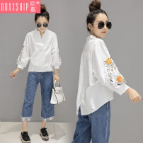 shirt white S M L XL XXL 3XL Spring of 2018 other 96% and above Nine point sleeve Versatile Regular V-neck Socket bishop sleeve Solid color 18-24 years old Straight cylinder Ooxxship / eurostorage Embroidery Other 100% Pure e-commerce (online only)