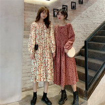 Dress Spring 2020 Apricot, pink One size fits all, XXXs pre-sale Mid length dress singleton  Long sleeves commute square neck Broken flowers Socket Others 18-24 years old Other / other Korean version 30% and below other