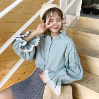 shirt Light green, violet One size fits all, XXXs pre-sale Spring of 2018 cotton 96% and above Long sleeves commute Regular Lotus leaf collar Single row multi button bishop sleeve Solid color 18-24 years old High waist type Other / other Korean version Button
