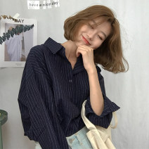 shirt White, blue One size fits all, XXXs pre-sale Autumn of 2018 cotton 71% (inclusive) - 80% (inclusive) Long sleeves commute Regular other Single row multi button other stripe 18-24 years old Other / other Korean version Pocket, button