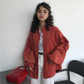 short coat Autumn of 2018 One size fits all, XXXs pre-sale Dark gray, brick red, light card Long sleeves routine routine singleton  Straight cylinder Versatile other stand collar Single breasted Solid color 18-24 years old Other / other 81% (inclusive) - 90% (inclusive) Button polyester fiber