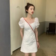Dress Summer 2020 White, black S. M, XXS pre-sale Middle-skirt singleton  Short sleeve commute other High waist Solid color zipper A-line skirt puff sleeve Others 18-24 years old Type A Korean version Splicing