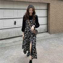 Dress Spring 2021 black One size fits all, XXXs pre-sale Miniskirt Fake two pieces Long sleeves commute Crew neck High waist Broken flowers zipper Big swing routine 18-24 years old Type A Korean version Splicing 31% (inclusive) - 50% (inclusive) polyester fiber