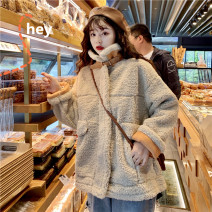 Cotton padded clothes Apricot, white, green One size fits all, XXXs pre-sale Winter of 2019 Other / other routine Long sleeves thickening zipper commute High collar routine Korean version 18-24 years old