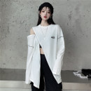 T-shirt Black, white One size fits all, XXXs pre-sale Autumn 2020 Long sleeves Crew neck easy Medium length routine commute other 30% and below 18-24 years old Korean version youth Asymmetric, zipper, stitching