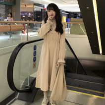 Dress Winter of 2018 One size fits all, XXXs pre-sale Mid length dress singleton  Long sleeves commute Elastic waist Solid color Socket Big swing routine Others 18-24 years old Type A Other / other Korean version Auricularia auricula, button 81% (inclusive) - 90% (inclusive)