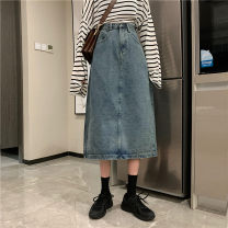 skirt Spring 2020 S. M, l, XL, XXXs pre-sale Dark blue, black, retro blue Middle-skirt commute High waist Denim skirt Solid color Type A 18-24 years old 71% (inclusive) - 80% (inclusive) other Make old Korean version