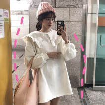 Dress Winter of 2018 Dark green, white, pink One size fits all, XXXs pre-sale Mid length dress singleton  Long sleeves commute Doll Collar Loose waist Solid color Socket Others 18-24 years old Other / other Korean version