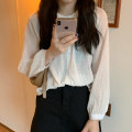 Lace / Chiffon Autumn 2020 White, blue, black One size fits all, XXXs pre-sale Long sleeves commute Cardigan singleton  easy Regular Crew neck Solid color routine 18-24 years old Button Korean version 30% and below