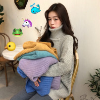 sweater Winter of 2018 One size fits all, XXXs pre-sale Gray, purple, green, blue, yellow Long sleeves Socket singleton  Regular acrylic fibres 30% and below High collar thickening routine Solid color Regular wool Keep warm and warm 18-24 years old Other / other