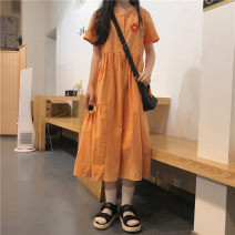 Dress Summer of 2019 Orange [with little flowers on the chest] One size fits all, XXXs pre-sale longuette singleton  Short sleeve commute Polo collar 18-24 years old Other / other Korean version 81% (inclusive) - 90% (inclusive)