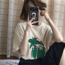 T-shirt Grey, apricot One size fits all, XXXs pre-sale Spring of 2018 Short sleeve Crew neck easy Regular routine commute other 96% and above 18-24 years old Korean version youth Plants and flowers Other / other printing