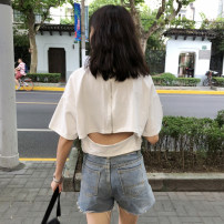 T-shirt White, black One size fits all, XXXs pre-sale Summer of 2018 Short sleeve Crew neck easy have cash less than that is registered in the accounts commute cotton 86% (inclusive) -95% (inclusive) 18-24 years old Korean version youth Solid color Other / other backless