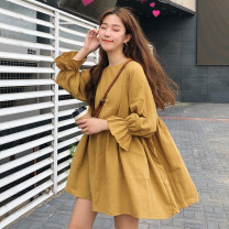 Dress Autumn of 2018 Brown, ginger One size fits all, XXXs pre-sale Mid length dress singleton  Nine point sleeve commute Crew neck Loose waist Solid color Socket other pagoda sleeve Others 18-24 years old Other / other Korean version fold 81% (inclusive) - 90% (inclusive) cotton