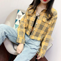 shirt S M L XL Autumn of 2019 polyester fiber 96% and above Long sleeves commute Short style (40cm < length ≤ 50cm) Polo collar Single row multi button routine lattice 18-24 years old Straight cylinder Retro Polyester 98% other 2% Pure e-commerce (online only)