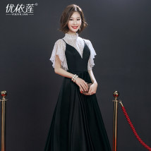 Dress / evening wear Annual meeting performance of wedding and adult party company Customized non refundable SML Black sling fashion Medium length middle-waisted Spring of 2018 princess stand collar Bandage 18-25 years old YYL17055 Short sleeve flower Solid color Youyilian routine other